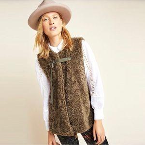 Anthro Akemi + Kin Alonna Teddy Sherpa Vest, Moss